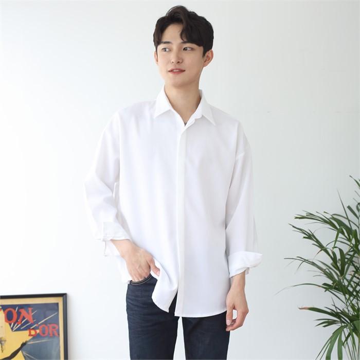 [JFNC] 기획 베이직 히든 셔츠 커플 긴팔셔츠 sh026