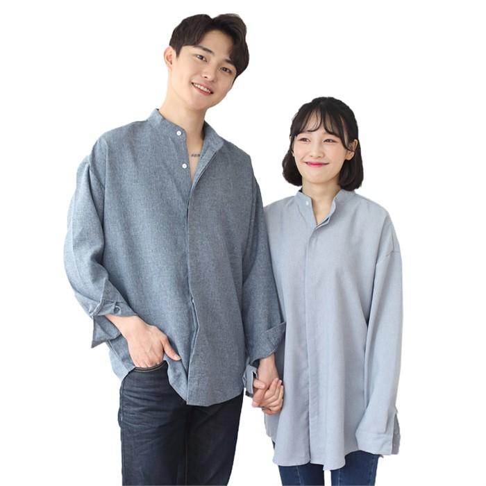 [JFNC] 카치온 히든 차이나 셔츠 커플 긴팔셔츠 sh025