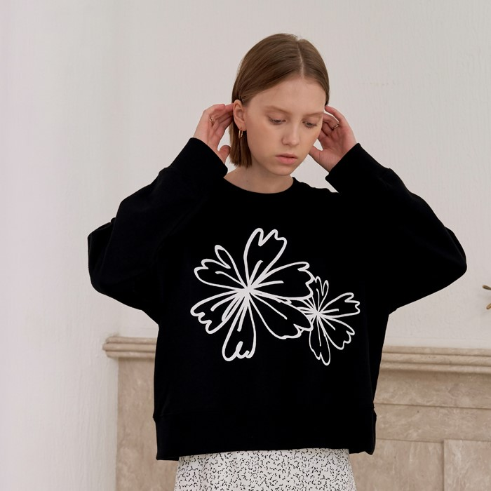 [엽페] FLOWER PRINT SWEATSHIRTS_BLACK