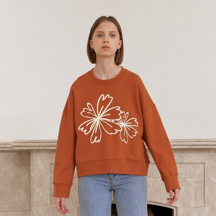 [엽페] FLOWER PRINT SWEATSHIRTS_BROWN