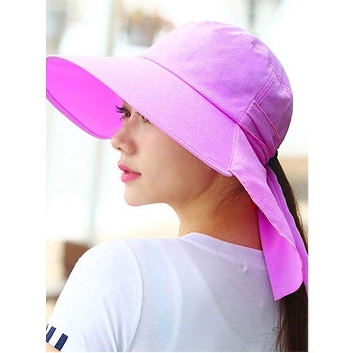 컬러풀 와이드 햇빛가리개 모자(퍼플)