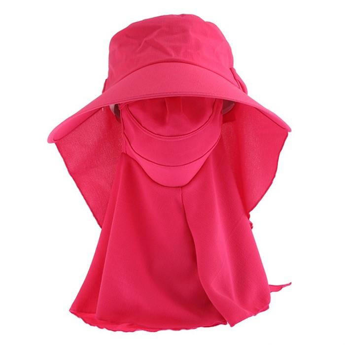 컬러풀 와이드 햇빛가리개 모자(핑크)