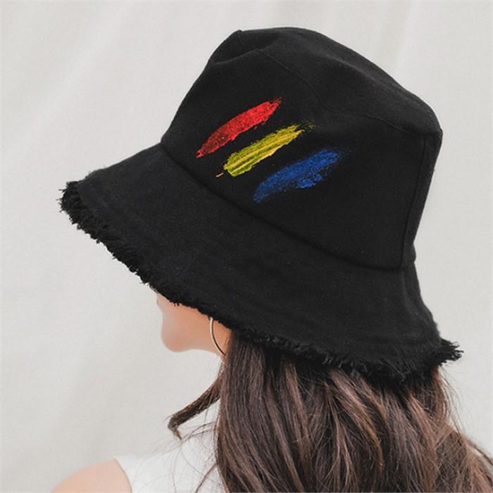 비양 페인트 벙거지 모자(블랙)