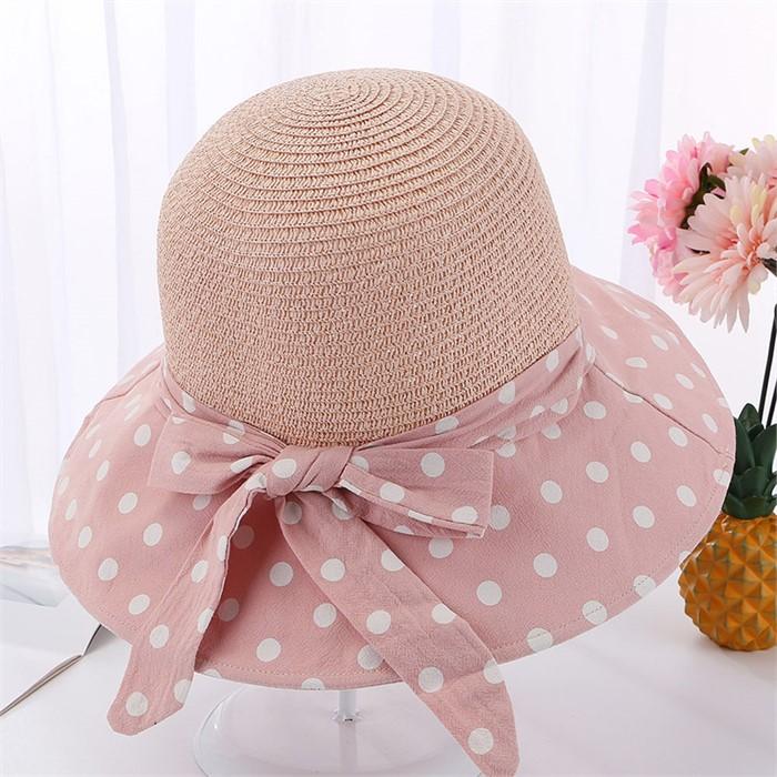 튜미 도트 리본 비치 모자(핑크)