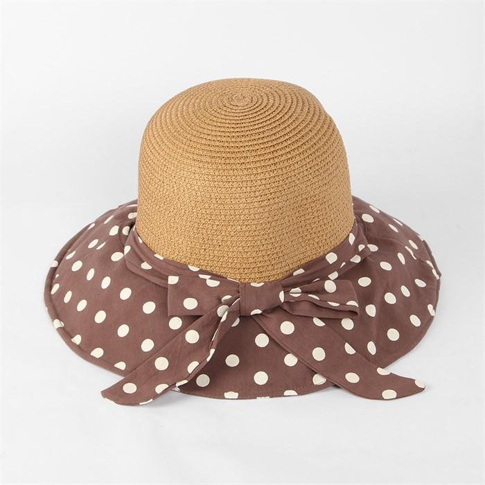 튜미 도트 리본 비치 모자(다크브라운)