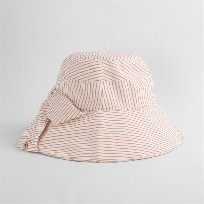 렌시 스트라이프 패션 모자(베이지)