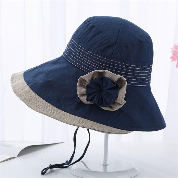메리앙 코사지 패션 모자(다크블루)