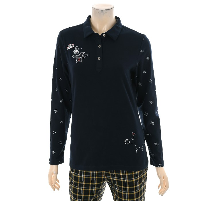 JDX NC02 여성 소매 프린트 카라 티셔츠 X2QFTLW51