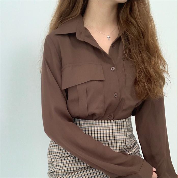 [왓이즈713] 루이고 무지 셔츠 주머니 블라우스(3color)