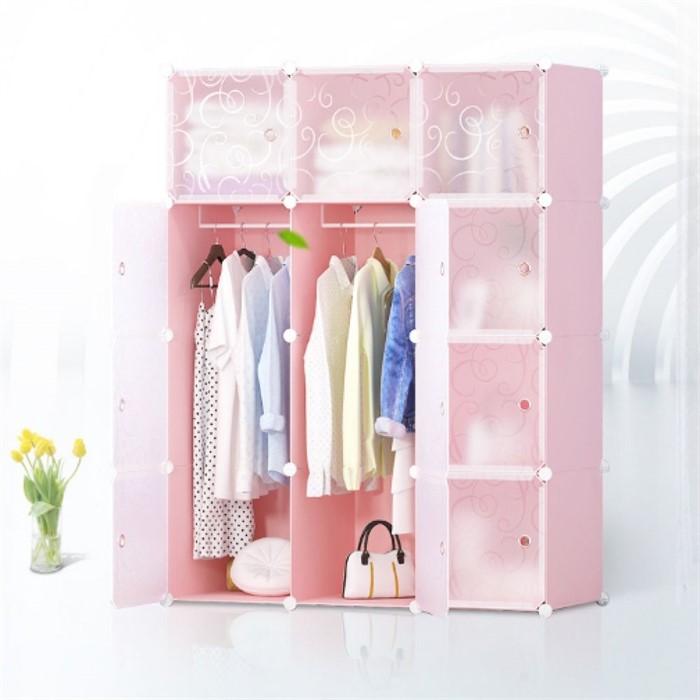 DIY 핑크하우스 선반 옷장 3열8칸 수납장 의류수납