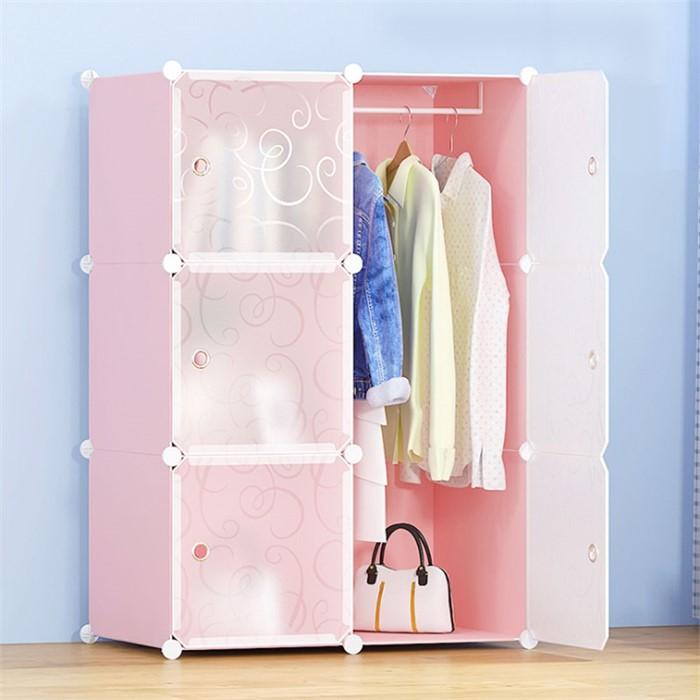 DIY 핑크하우스 선반 옷장 2열4칸 의류수납함 진열