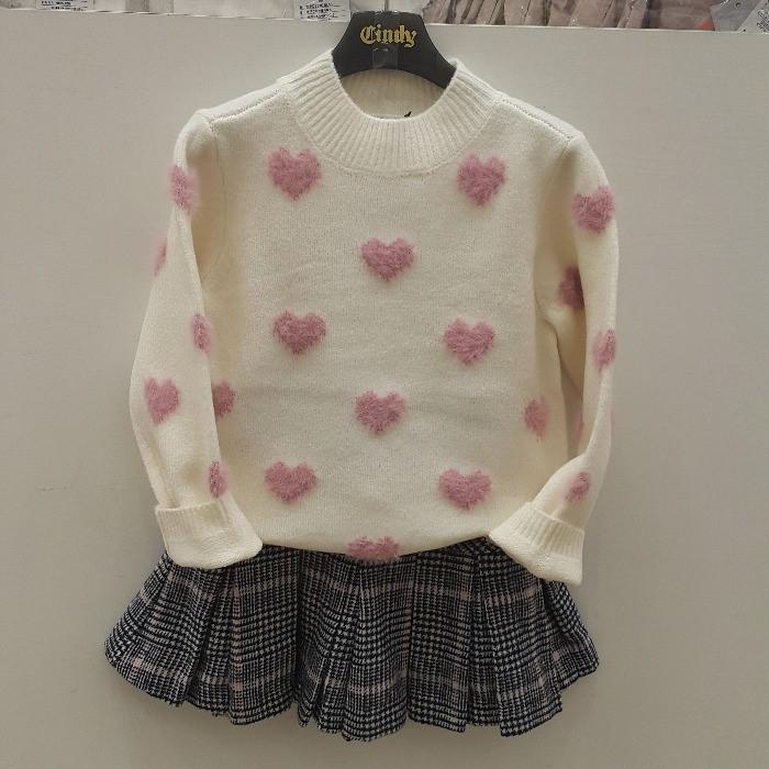신디키즈 NC05 하트 쟈카드 스웨터 CIKA19T04
