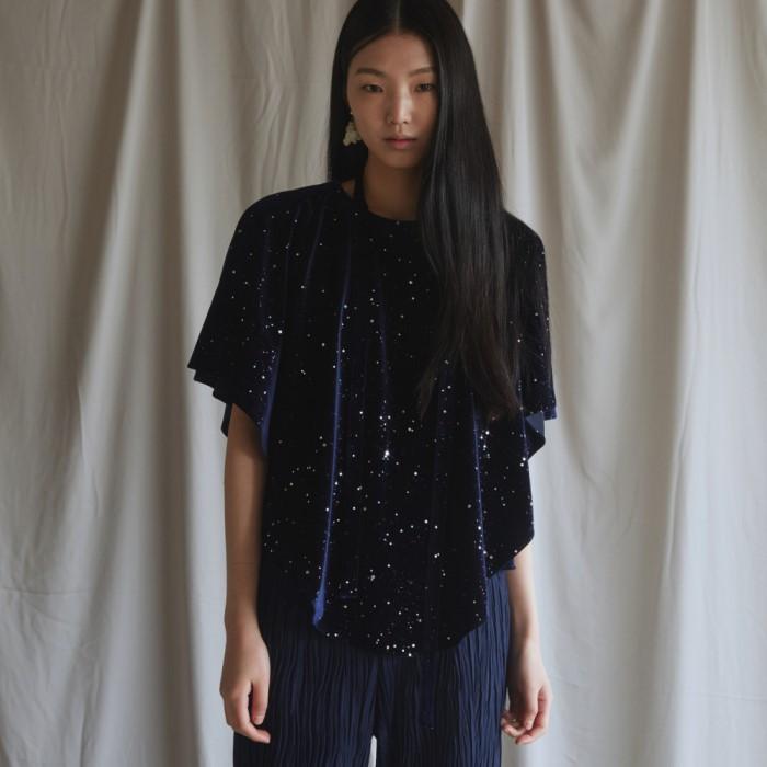 [블리다] navy starry velvet cape blouse