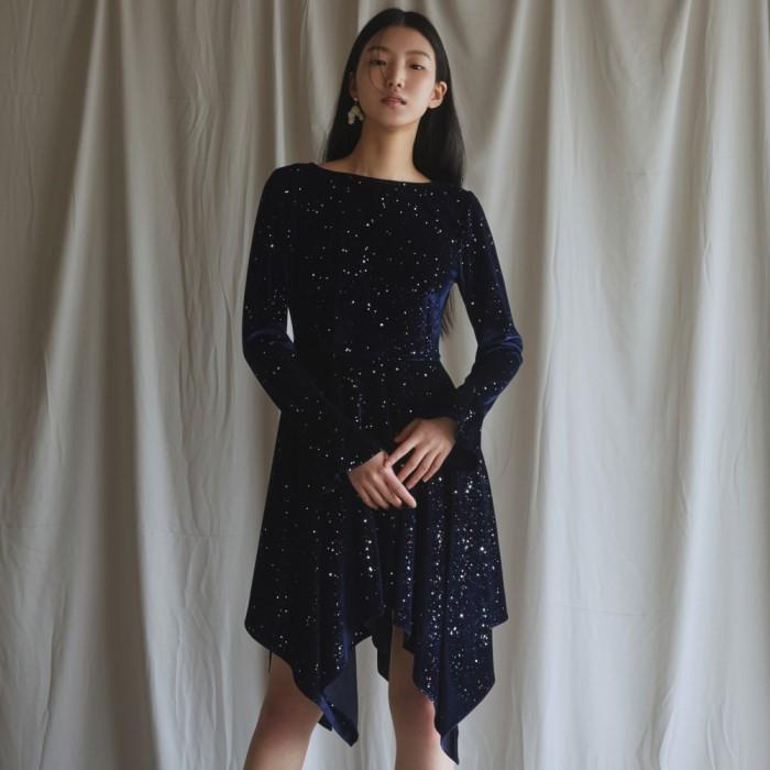 [블리다] navy starry velvet dress