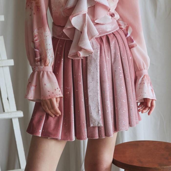 [블리다] pink starry velvet belt skirt
