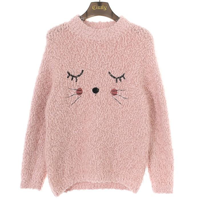 신디키즈 NC02 냥이 뽀글이 스웨터 (핑크 CIKA19T03