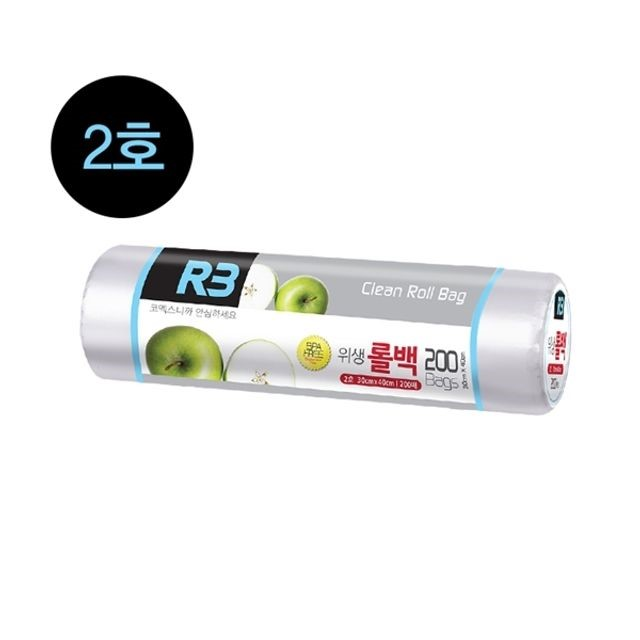 R3 위생 롤백 2호 일회용 비닐봉투 롤 소분 폴리백