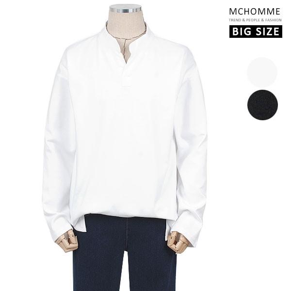 엠씨옴므 빅사이즈(~3XL) 다양한 스타일이 가능한 오픈 카라 티셔츠 TT19S108_W