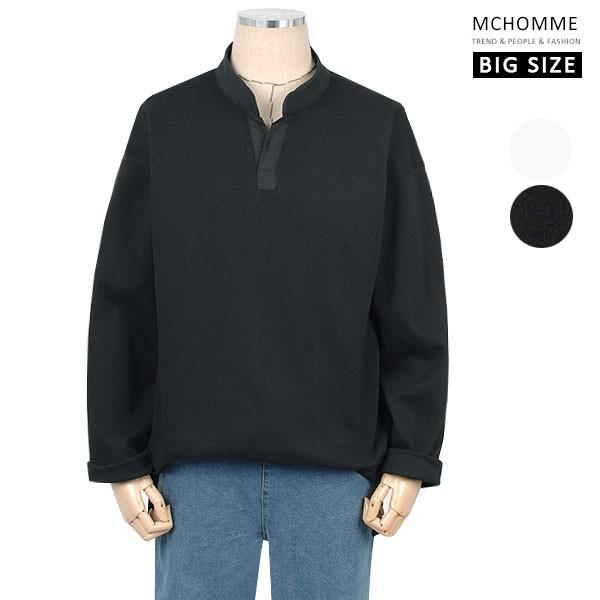 엠씨옴므 빅사이즈(~3XL) 다양한 스타일이 가능한 오픈 카라 티셔츠 TT19S108_B