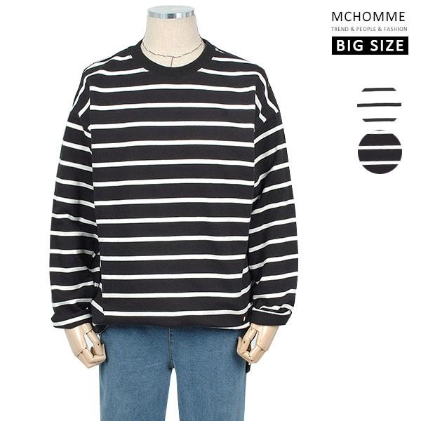 엠씨옴므 빅사이즈(~3XL) 편안하고 감각적인 데일리 스트라이프 티셔츠 TT19S110_B