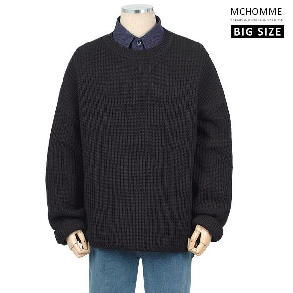 엠씨옴므 빅사이즈(~4XL) 남친룩의 정석 라운드넥 옆트임 니트 티셔츠 SH19S116_B