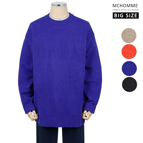 엠씨옴므 빅사이즈(~4XL) 간절기 포근하고 따뜻한 댄디룩 니트 티셔츠  SH19S115_BL