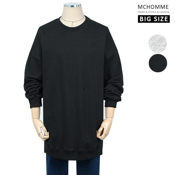 엠씨옴므 빅사이즈(~3XL) 덤블워싱 깔끔한 민무늬 솔리드 맨투맨 티셔츠 TT19S111_B