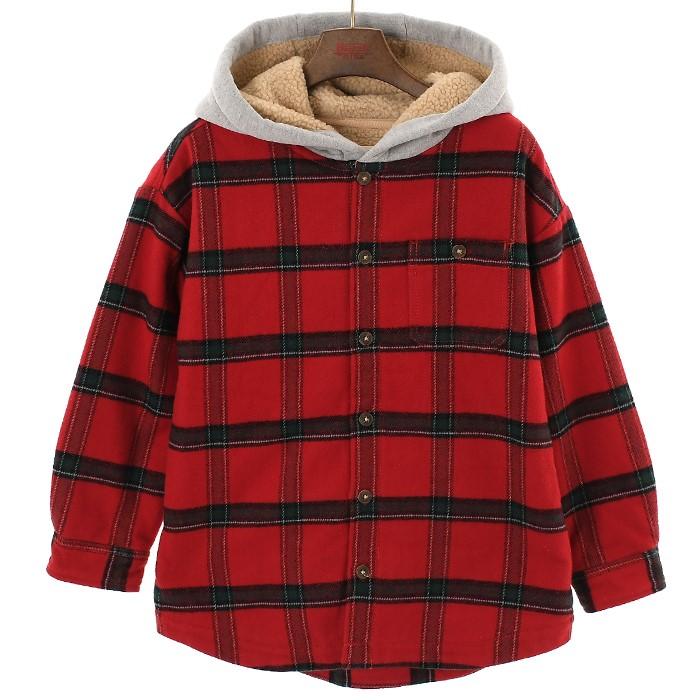 인디고키즈 NC02 양털안감 후드체크셔츠 IKYC19W05