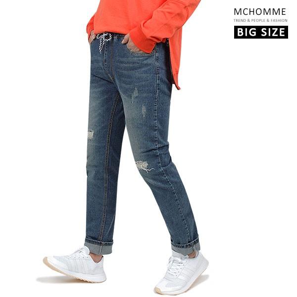 엠씨옴므 빅사이즈(~40 size) 빈티지 찢청 일자핏 밴딩 청바지 데님 팬츠 DK19S109_BL