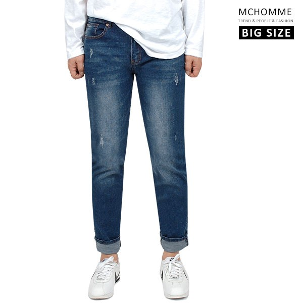 엠씨옴므 빅사이즈(~40 size) 네츄럴 블루진 일자핏 청바지 데님 팬츠 DK19S103_BL2