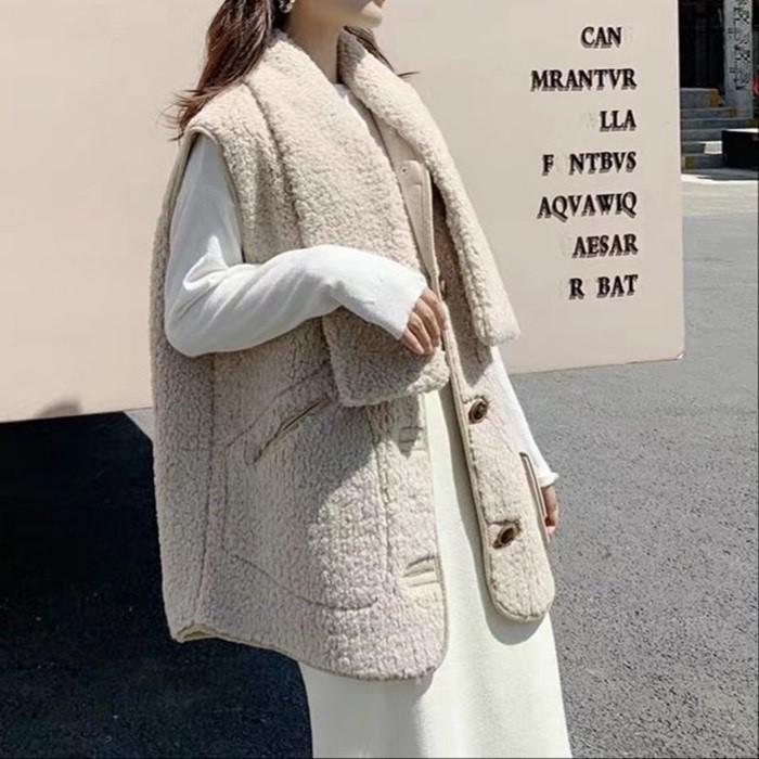[한중무역] 양털 목도리조끼 여성조끼 여성베스트 가을조끼 양털조끼 동대문시장상품