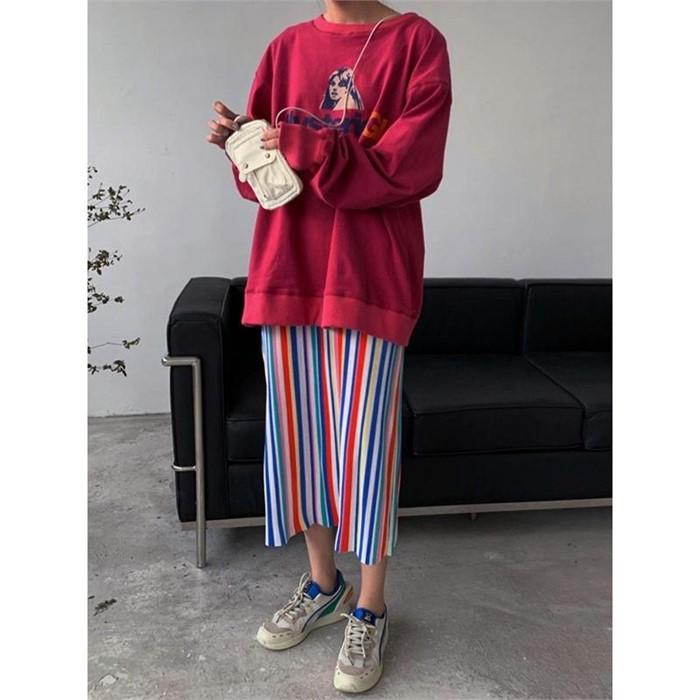[일루아] (당일발송)딥레드 티셔츠 스커트 세트