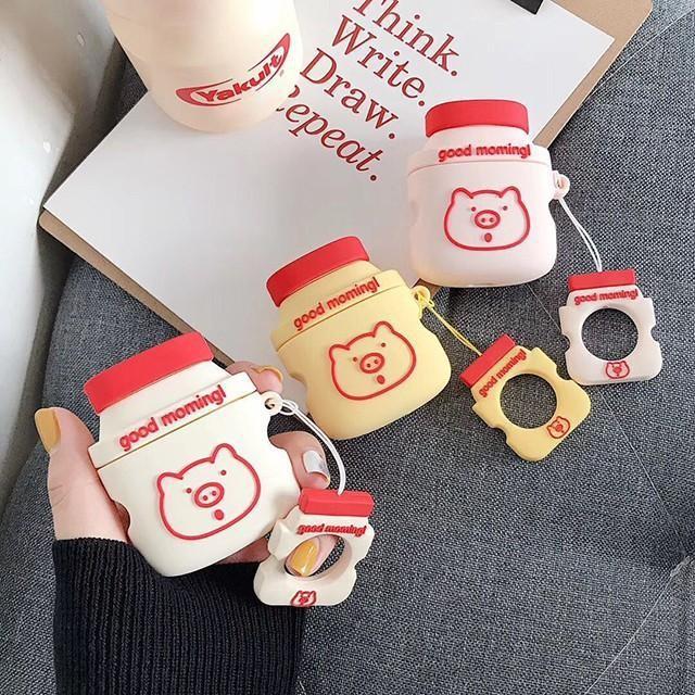 [마물샵] 귀여운 실리콘 돼지 요구르트 에어팟 케이스 특이한케이스 디자인케이스 스마트폰 에어팟