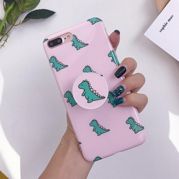 [마물샵] 귀여운 핑크 공룡 그립톡 아이폰 케이스 특이한케이스 디자인케이스 스마트폰 에어팟