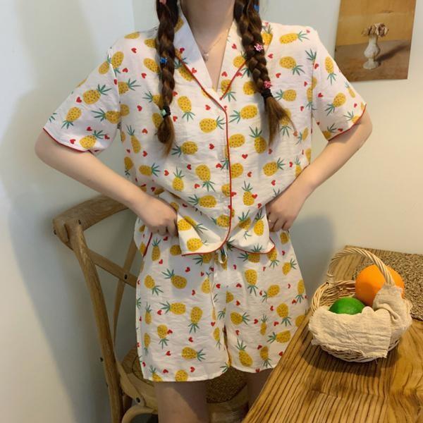 [마물샵] 패션마켓3 스윗파인애플 파자마세트