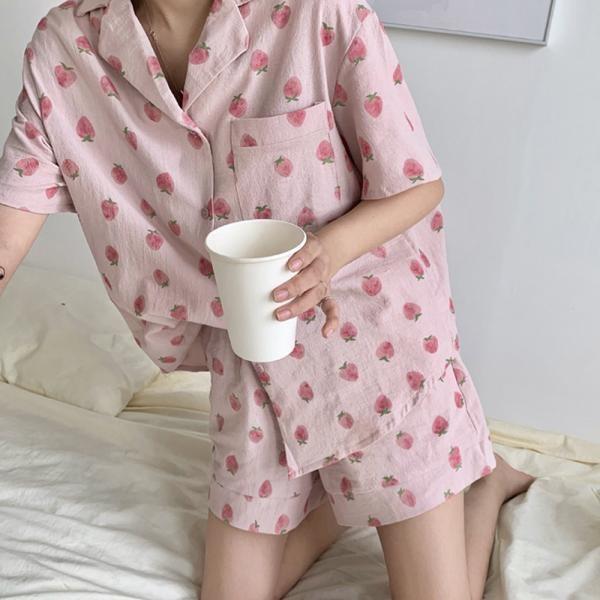 [마물샵] 피치딸기 파자마세트 과일잠옷