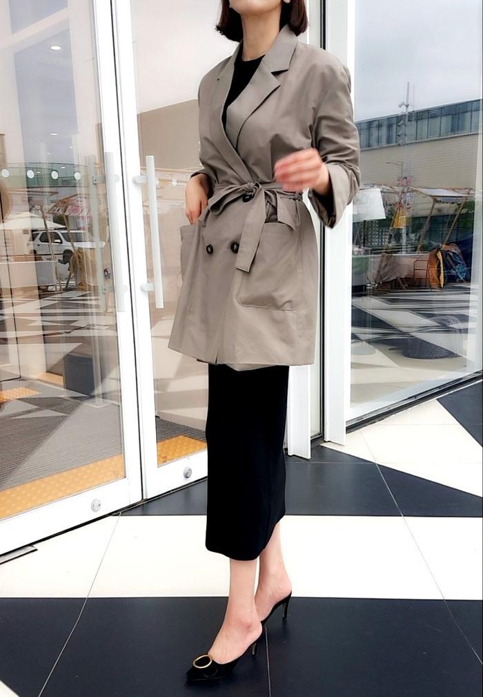[더보니] 싱글 오버핏 벨티드 여성자켓