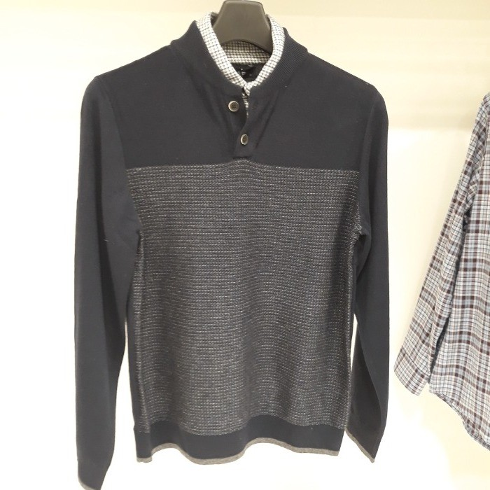 SAP (샙) NC05 울혼방 셔츠부착형스웨터 MNKA19T04