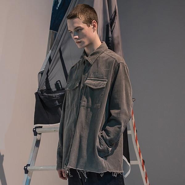 [매스노운] SL 로고 오브젝트 코듀로이 포켓 셔츠 MFNST001-GY