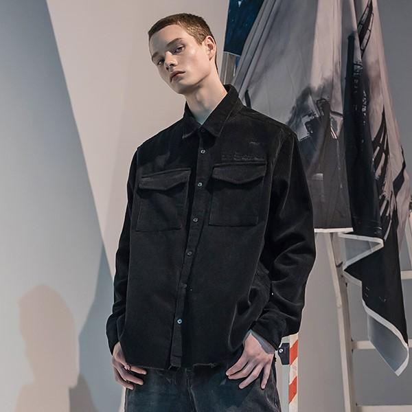 [매스노운] SL 로고 오브젝트 코듀로이 포켓 셔츠 MFNST001-BK