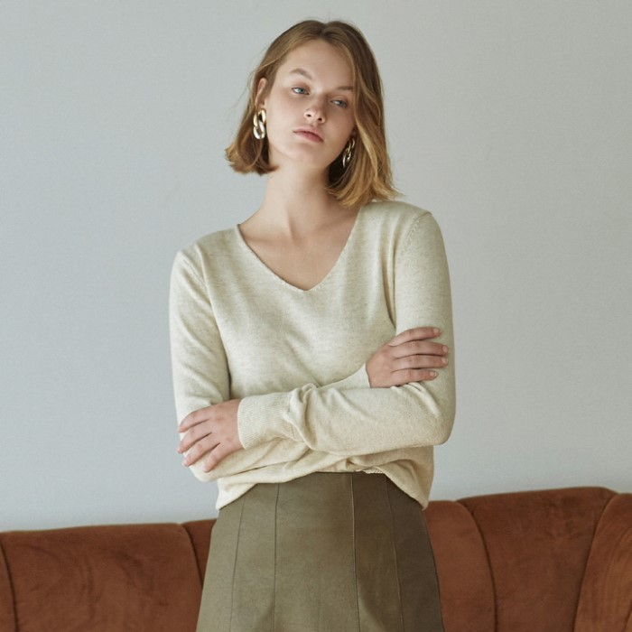 [DEANS] SOFT DEEP V KNIT_OATMEAL