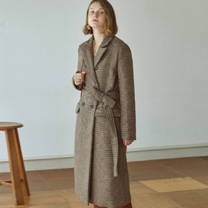 [DEANS] HOUND ROBE DOUBLE LONG COAT_BRICK
