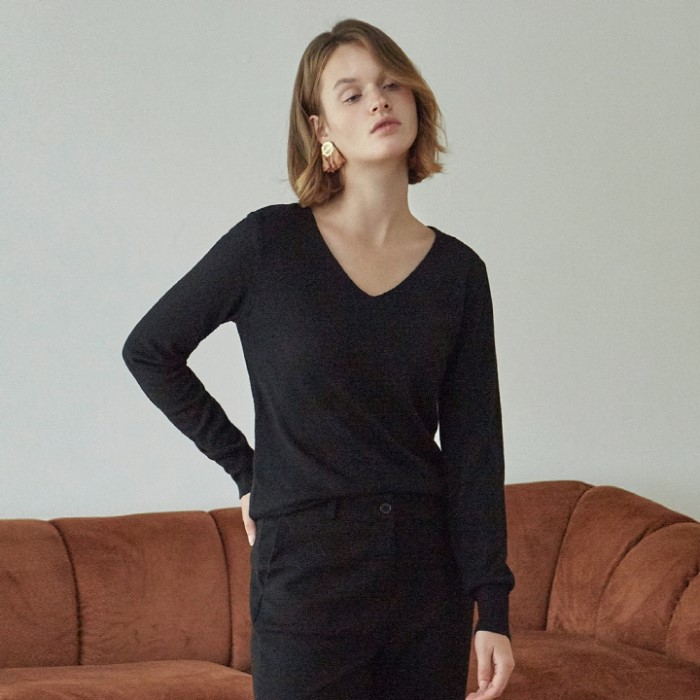 [DEANS] SOFT DEEP V KNIT_BLACK