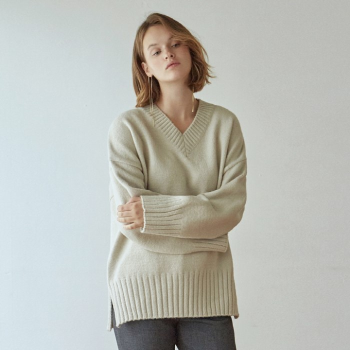 [DEANS] WIDE SLIT Y SWEATER_LIGHT GRAY