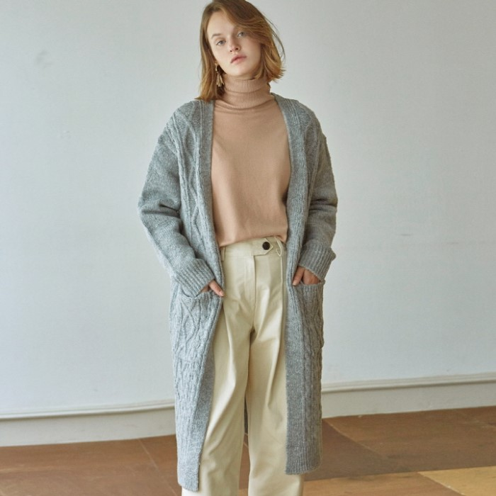 [DEANS] DIA KNIT LONG CARDIGAN_GRAY