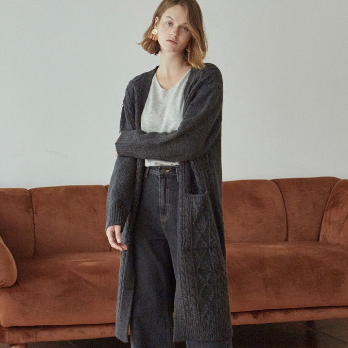 [DEANS] DIA KNIT LONG CARDIGAN_CHARCOAL