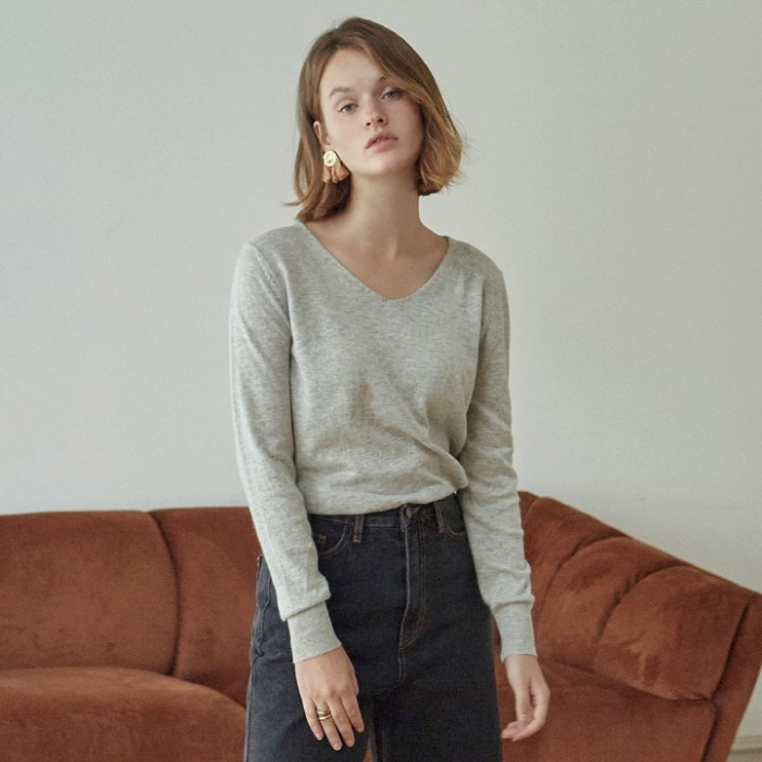 [DEANS] SOFT DEEP V KNIT_GRAY