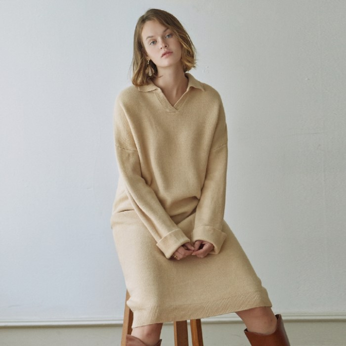 [DEANS] V-NECK KNIT LONG OPS_LIGHT BEIGE
