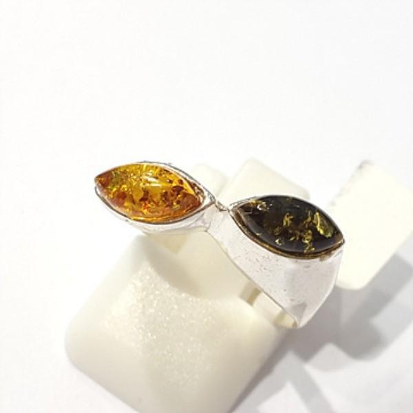 [블루케이] 호박 원석 반지 n191014-04