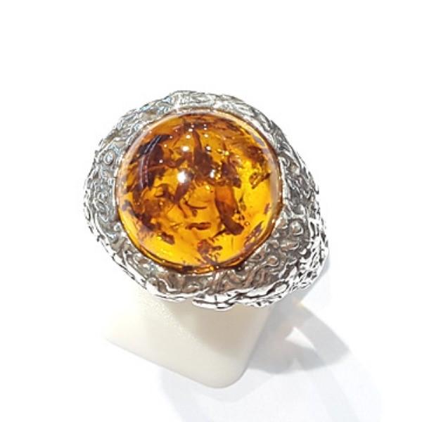 [블루케이] 호박 원석 반지 n191015-08